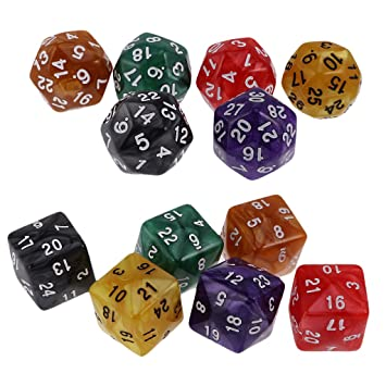 Homyl 12x Dados D30 D24 para DND TRPG Party Juego de Mesa: Amazon ...