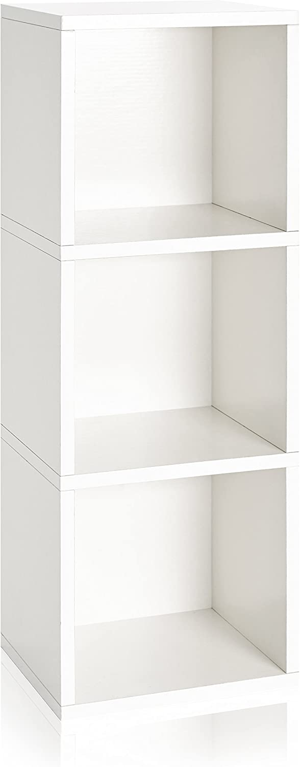 Way Basics Eco Wynwood 3 Cube Bookcase, Storage Shelf, Organizer (Tool-Free Assembly and Uniquely Crafted from Sustainable Non Toxic zBoard Paperboard) White