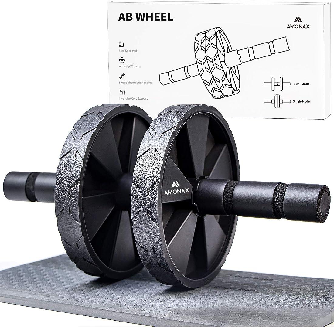 Rullo per addominali amonax - abs - ruota - abroller  per esercizi di rollout core abs con tappetino B081Z7BBMB