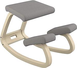 Varier Variable Balans Original Kneeling Chair Designed by Peter Opsvik (Dark Grey Revive Fabric with Natural Ash Base)