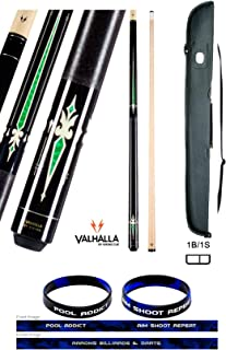 product image for Valhalla VA321 by Viking 2 Piece Pool Cue Stick Linen Wrap, Green Emerald 6 Point HD Transfers High Impact Ferrule, 3 Nickel Silver Rings 18-21 oz. Plus Cue Case & Bracelet (Green VA321, 21)