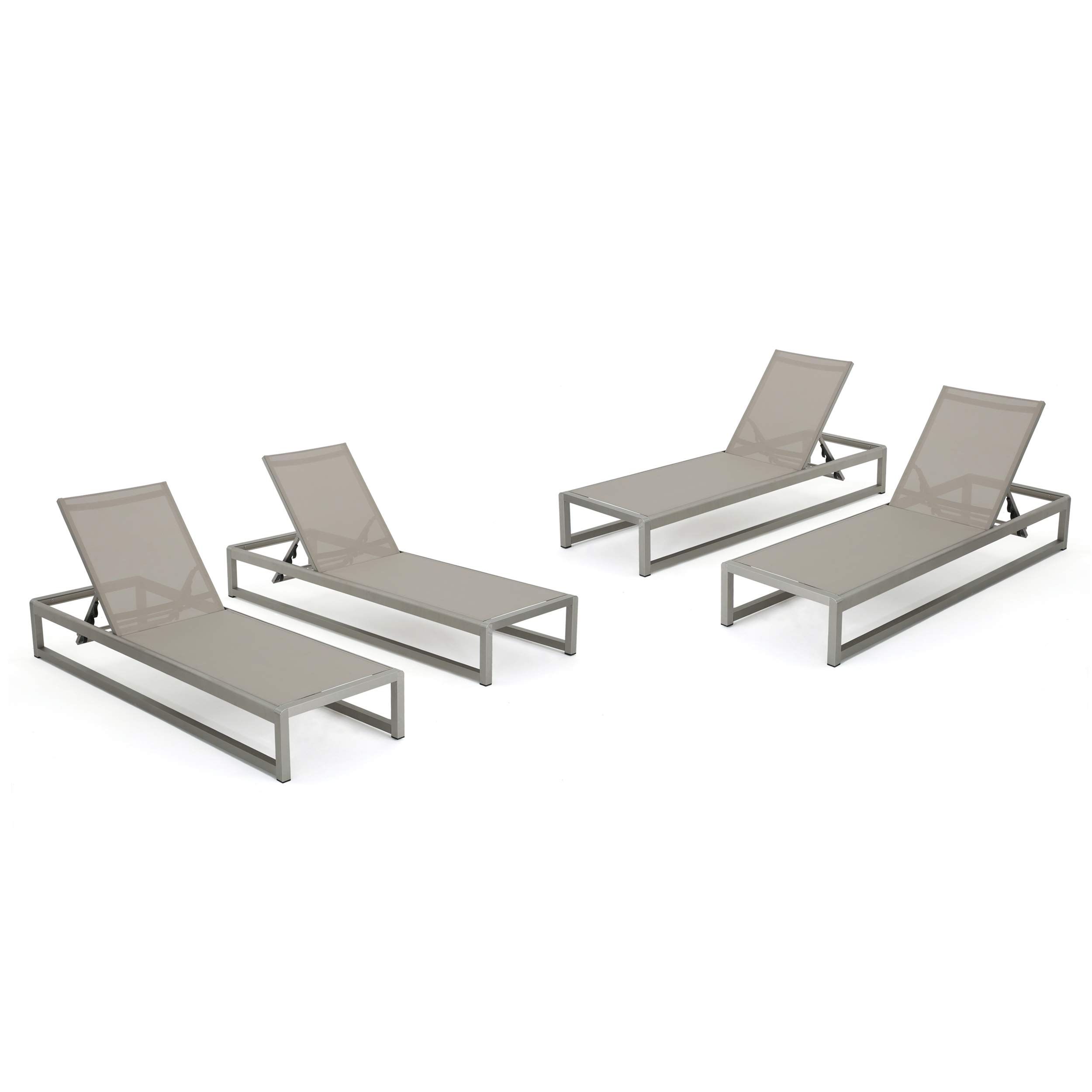 San LuisOutdoor Grey Mesh Chaise Lounge with Silver Finished Aluminum Frame (Set of 4)