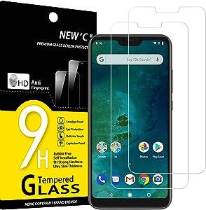 NEW'C 2 Unidades, Protector de Pantalla para Xiaomi A2 Lite, Antiarañazos, Antihuellas, Sin Burbujas, Dureza 9H, 0.33 mm Ultra Transparente, Vidrio Templado Ultra Resistente