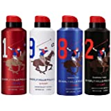 Ralph Lauren BHPC Polo Deodorant Spray for Men (Red White Blue Black)- Pack of 4