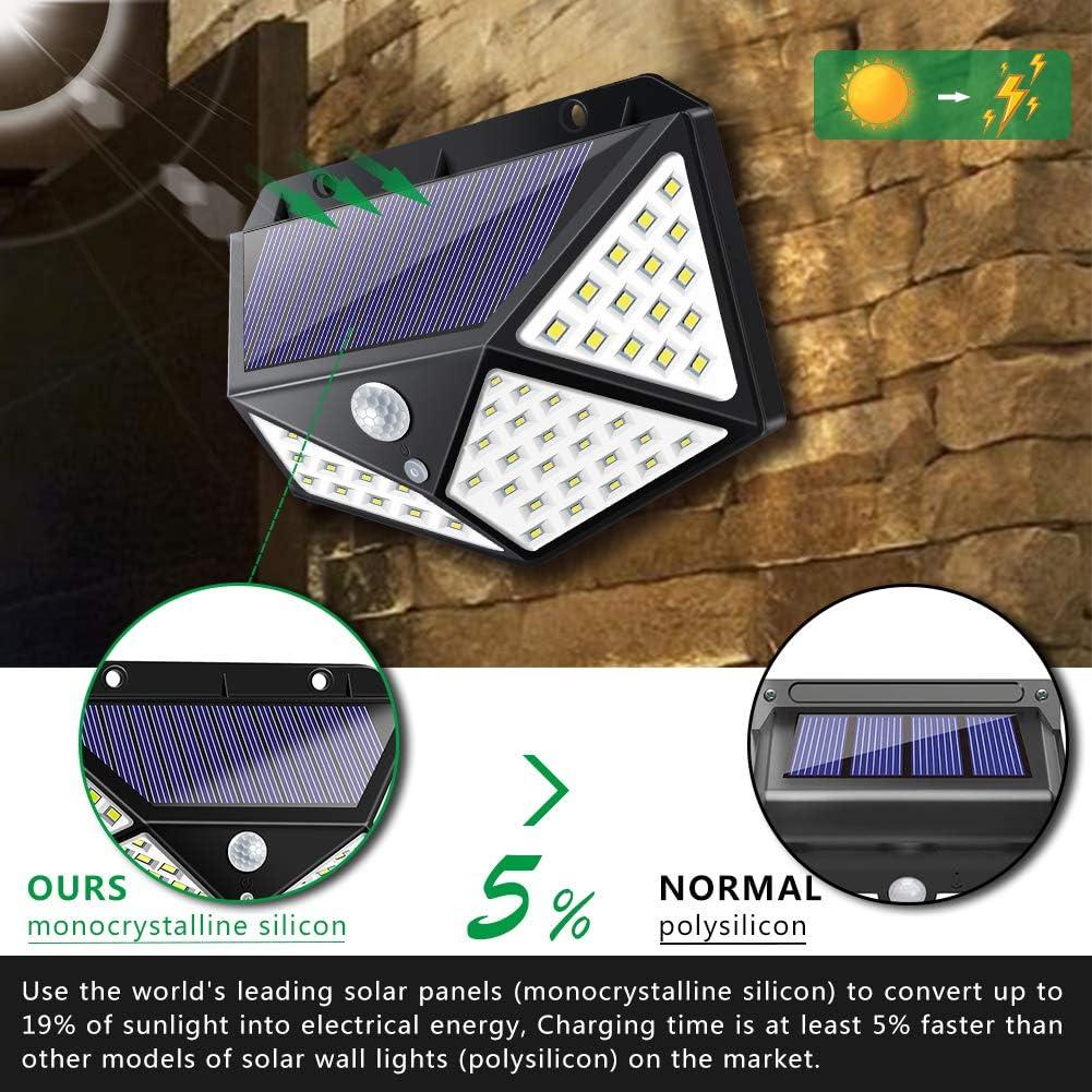 100LEDs Solar Power PIR Motion Sensor Wall Light Outdoor Garden Lamp Waterproof#