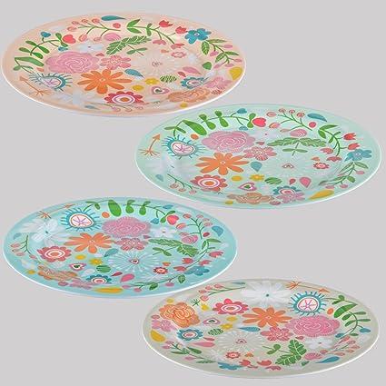 Melamina Serie Happy Vajilla plástico Flores camping picnic ...