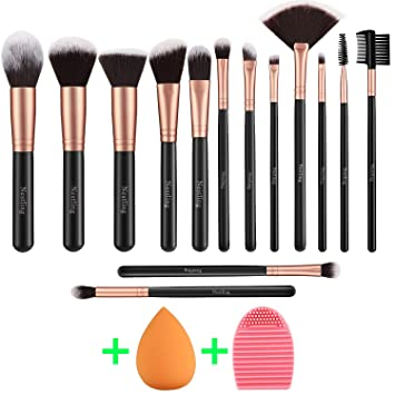 f9a9b59c81e8 Makeup Brushes Rose Golden 14 Pcs Makeup Brush Set with Makeup Sponge and  Brush Cleaner Premium Synthetic Kabuki Brushes for Foundation Face Powder  ...