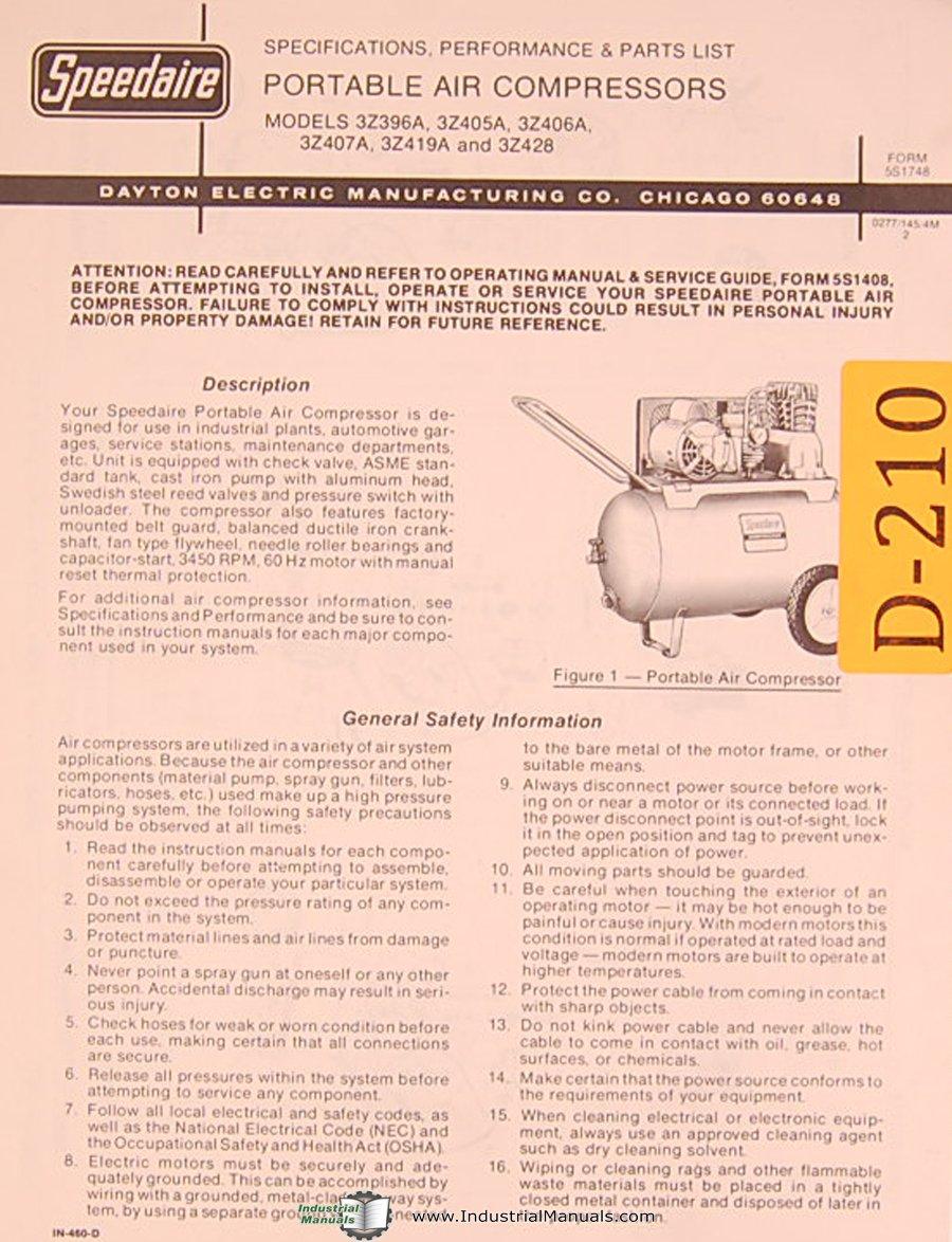 Dayton 3Z Series Portable Air Compressors, Specs and Parts List Manual:  Dayton: Amazon.com: Books