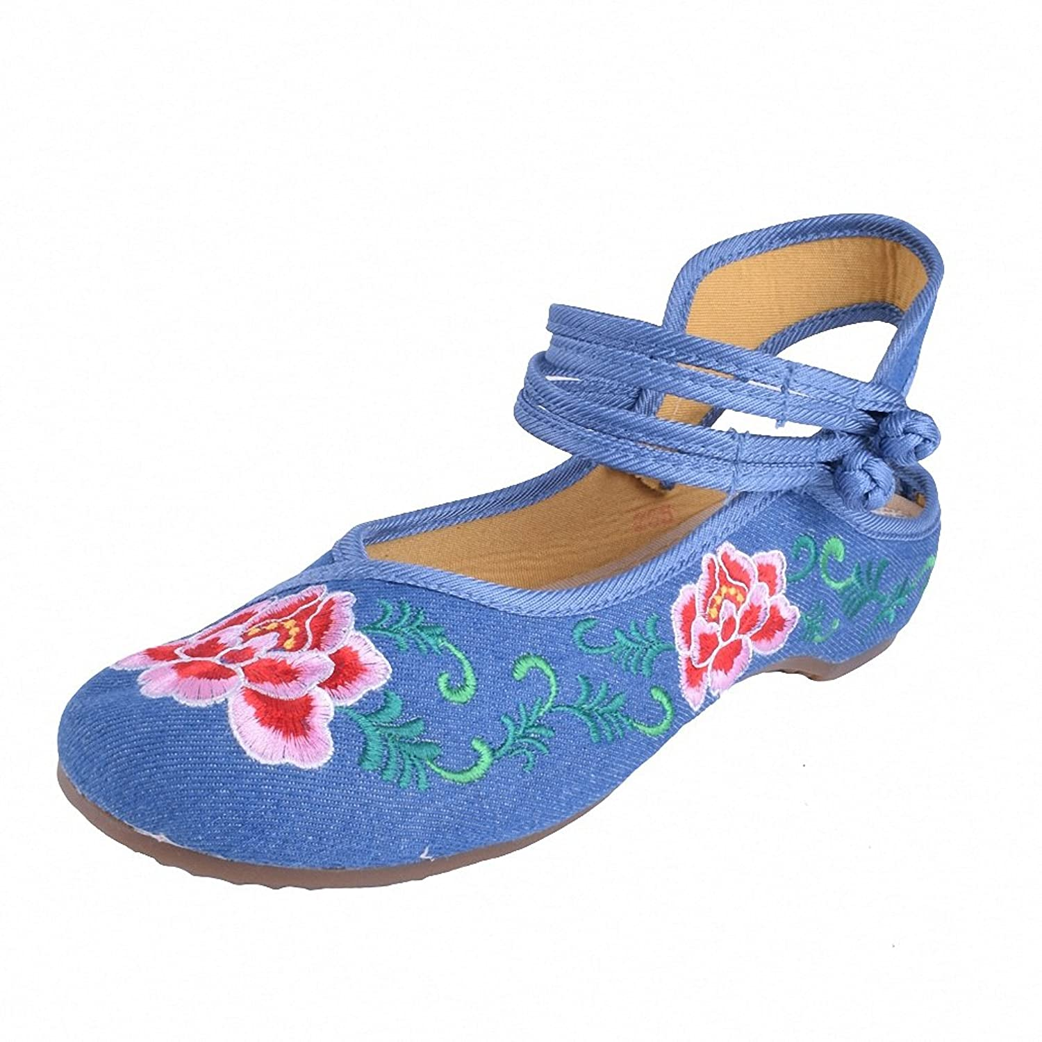 New Arrive Chinese Embroidery Flats Old Beijing embroidered canvas floral shoes Traditional dance single shoes size 34-41 Blue 7