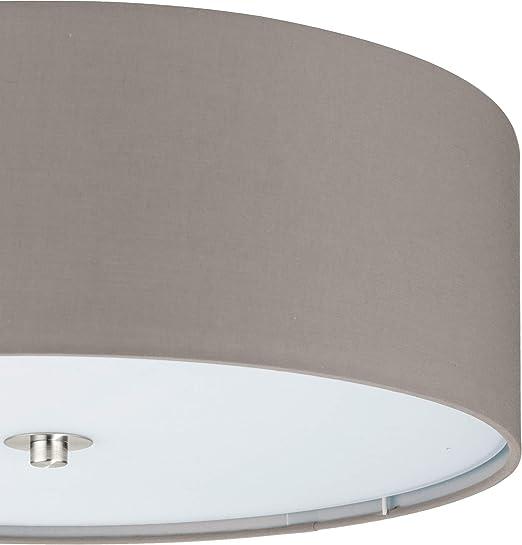 Decken Lampen Ø 60cm mit 3 Philips LED Leuchtmittel 7,5W Wohn Zimmer Stoff weiss