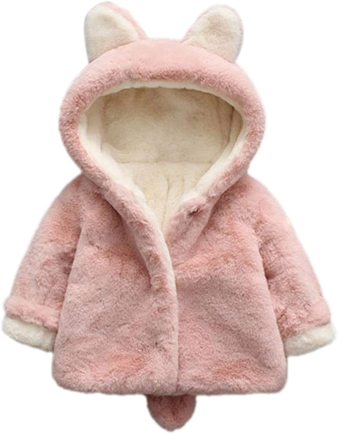 ARAUS Baby Girl Fuzzy Faux Fur Winter Warm Hoodie Coat Jacket Thick Clothes