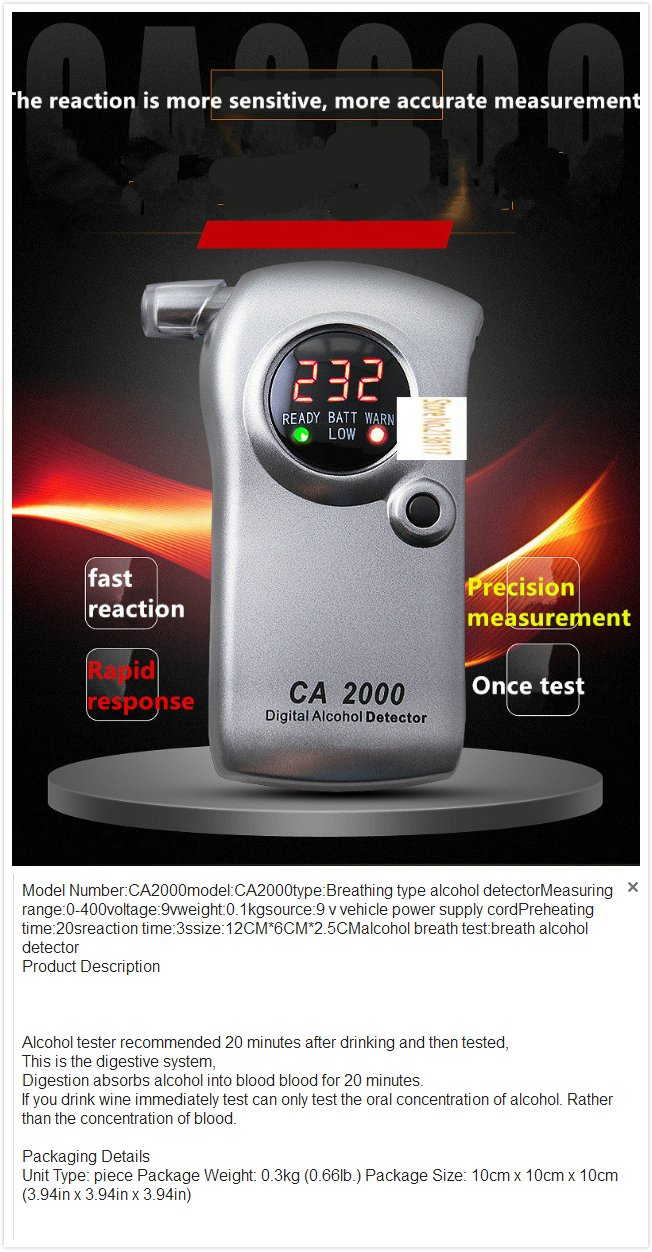 High LCD Digita Sensitive Alcohol Tester Blowing Test Drill Concentration Traffic Police Special Tester Wine Alcohol Tester