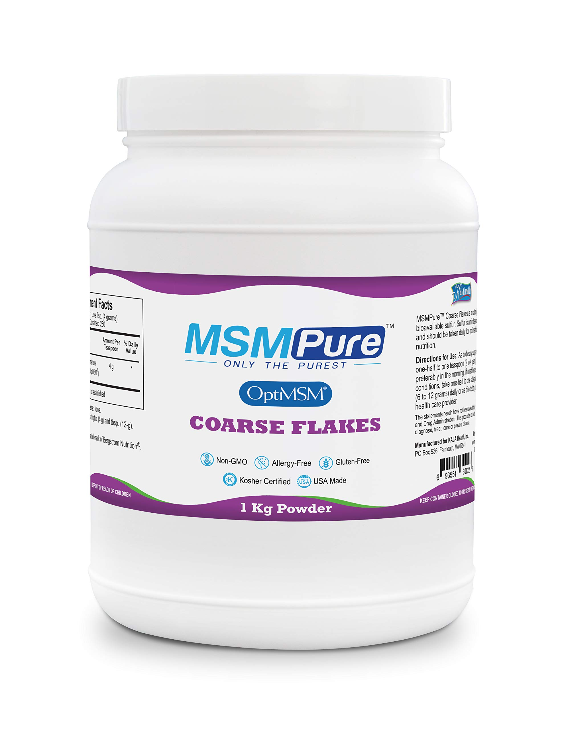 Kala Health MSMPure Coarse Powder Flakes, 2.2 lb, Organic Sulfur Crystals, 99.9% Pure Distilled MSM Supplement, Made in The USA