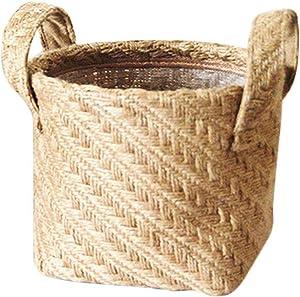 Braided Jute Cloth Flowerpot Storage Basket Cotton Linen Blended Desktop Storage Box Kids Toys Sundries Organizer Laundry Basket,Dark Color,14x17x16CM