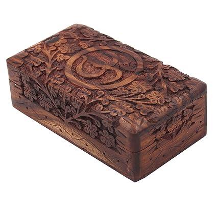 Wooden Storage Box Hand Carved Hindu OM AUM 4quot