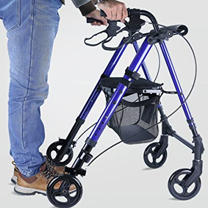 Andador de acero inoxidable Walker plegable con ruedas (4 ...