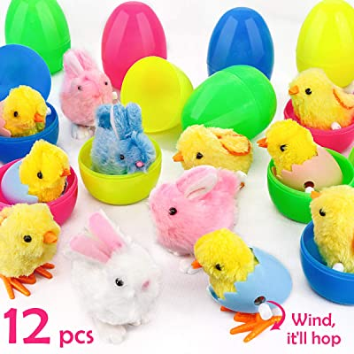 "Ivenf Plastic Easter Eggs Filled with Wind-Up Bunnies and Chicks Plush Toys 12 Pack, Surprise Prefilled Large 3-3/4"" Easter Eggs Bulk for Kids, School Home Office Easter Decorations Party Supplies: Home & Kitchen"