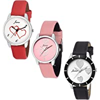 Jainx Triple Combo Multi Color Dial Analog Watch for Women & Girls - JXT807