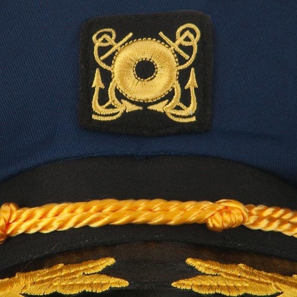Yacht Skipper Boat Captain Hat Sailor Ship Cap Navy Blue Gold Aviator Sunglasses by Nicky Bigs Novelties (Image #4)