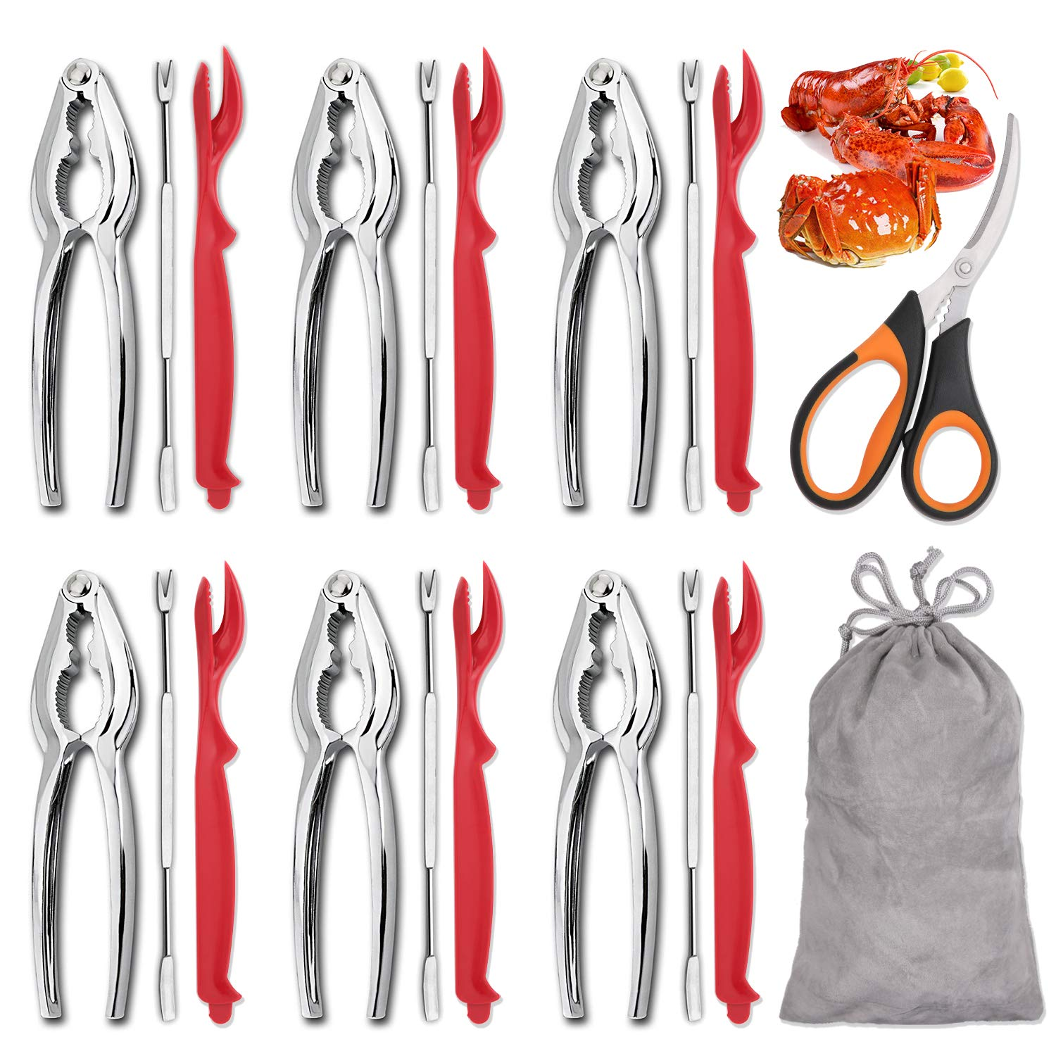 Hiware 19-piece Seafood Tools Set includes 6 Crab Crackers, 6 Lobster Shellers, 6 Crab Leg Forks/Picks and 1 Seafood Scissors & Storage Bag - Nut Cracker Set