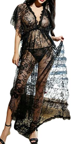 Amazoncom Ainr Women Summer Sheer Long Lace Robe Plus Size