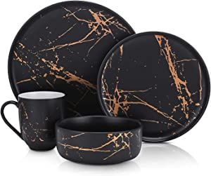 Stone Lain Modern Gold Splash Exquisite Fine China Dinnerware Set, 16 Piece - Service for 4, Black & Gold