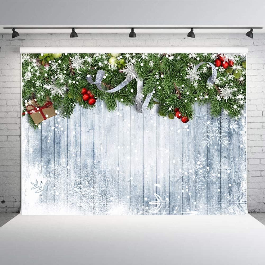 Happy New Year Photo Booth Backdrop Wood Wall 7x5ft Vinyl White Snowflake Studio Photo Backgrounds Winter Theme Party Decoration