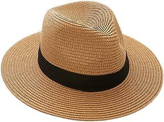 QQI Mens/Ladies Summer Sun Hat - Packable Fedora Sun Hats w/Travel Tube Panama Trilby Hat -Beach Sun Floppy Derby Hat Wide Brim Straw Cap