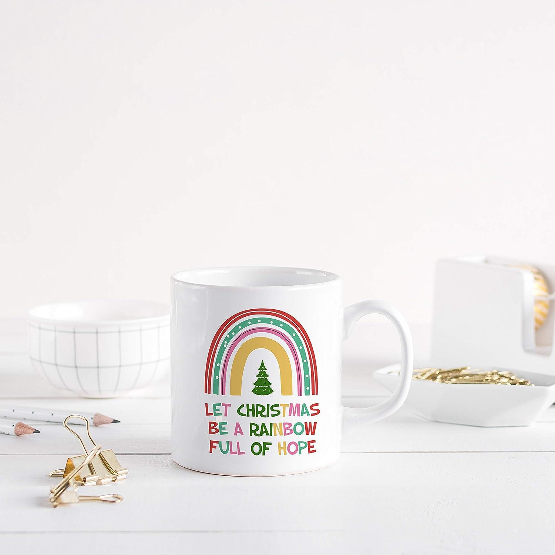 Christmas Rainbow mug//Personalised lockdown Xmas mug//Gift for her or him//Social distance//Let Christmas be a rainbow full of hope