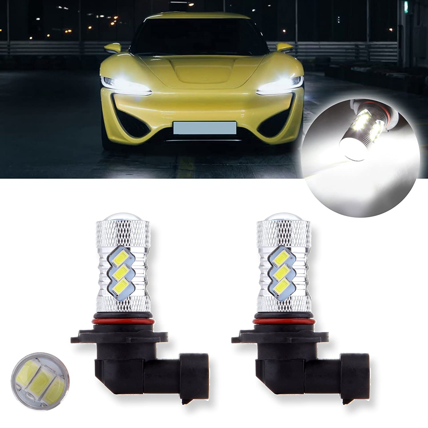 cciyu 2 Pack High Power 60W 6000 LM 15SMD 9005 HB3 Cree LED Light Replacement fit for Fog DRL Daytime Light, Xenon White 800291-5210-1558351