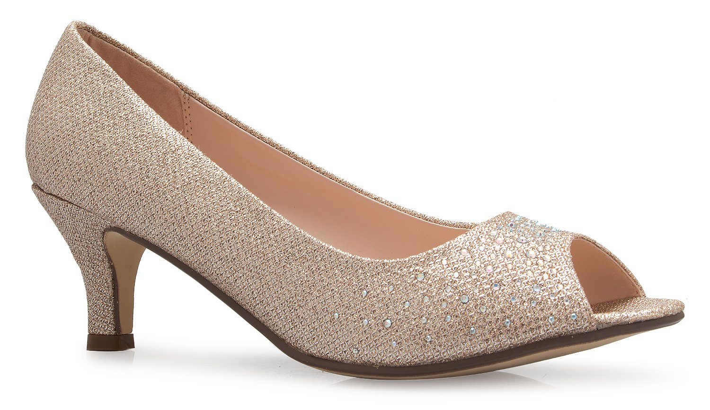 OLIVIA K Women¡¯s Classic Open Toe Kitten Heel with Rhinestone Glitter - Causal, Comfortable