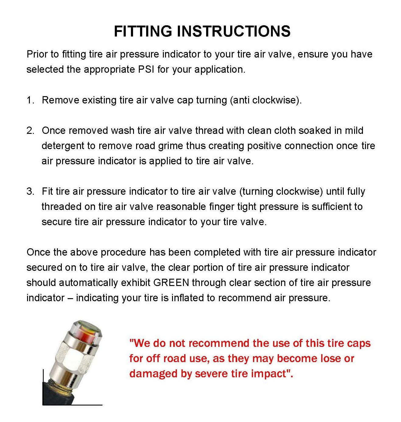 Gozens 26-80psi TPMS Tire Pressure Monitor Valve Stem Cap Tyre Sensor Indicator 50 PSI