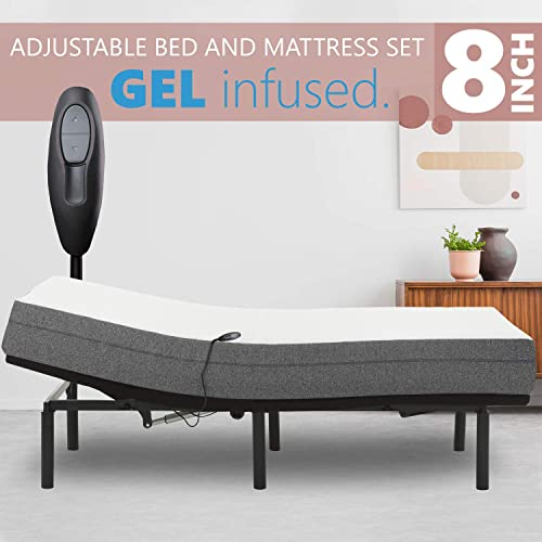Adjustable Bed Frame with 8 Firm Gel Infused Memory Foam Mattress, Head Only Incline and Wired Remote No Tools Required Assembly Queen