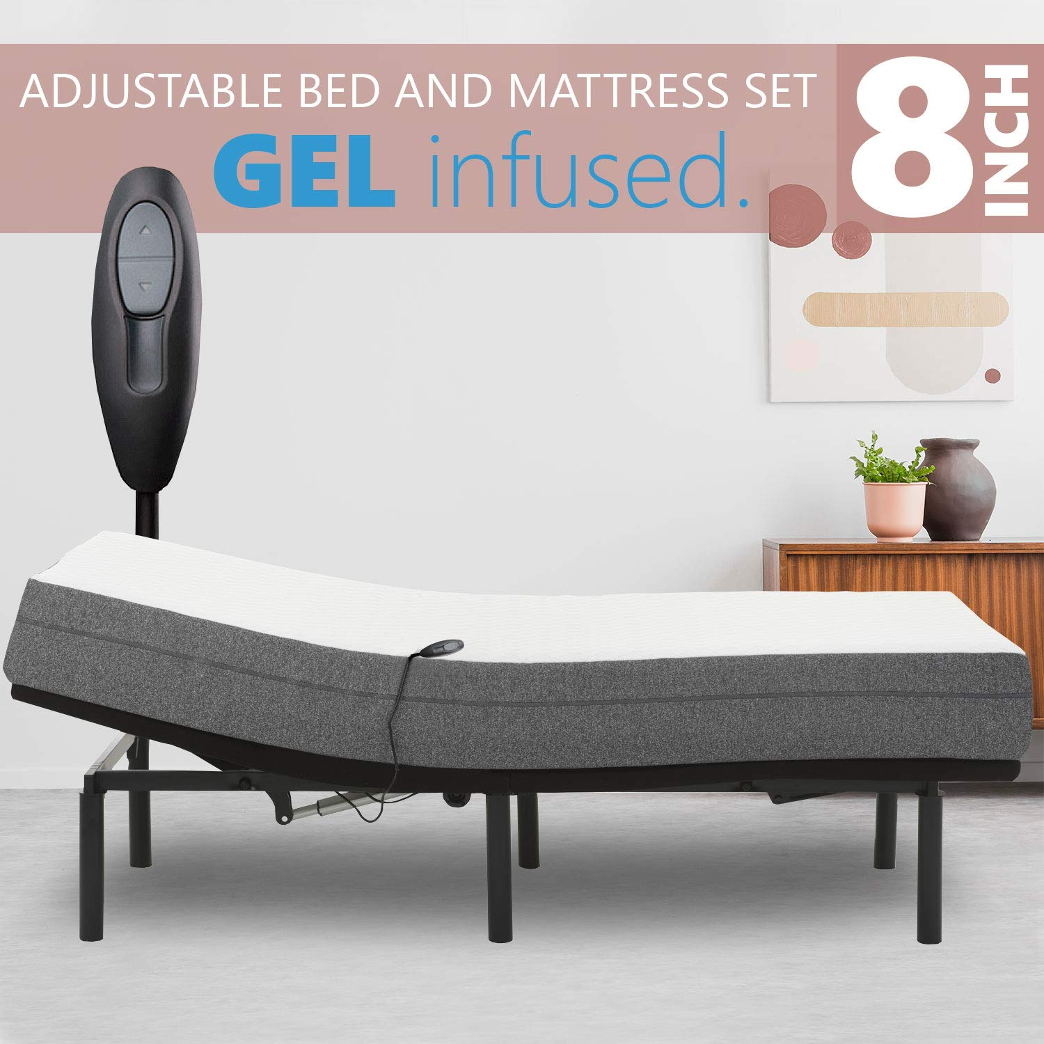 Blissful Nights Adjustable Bed Frame with 8 Firm Gel Infused Memory Foam Mattress, Head Only Incline and Wired Remote No Tools Required Assembly Queen