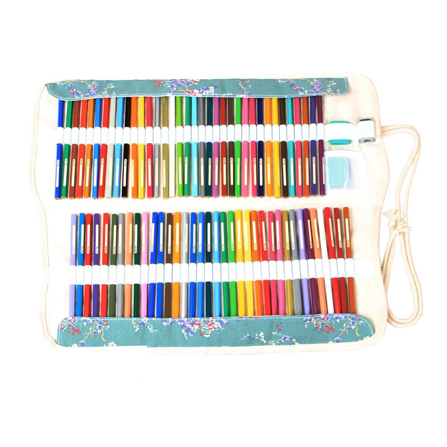 Damero Canvas Wrap for 72 Colored Pencils, Pencil Holder Case Roll Multi-purpose Pouch for School Office Art Craft, Pencil Bag for Travel (Pencils Not Included) Elephant Damai