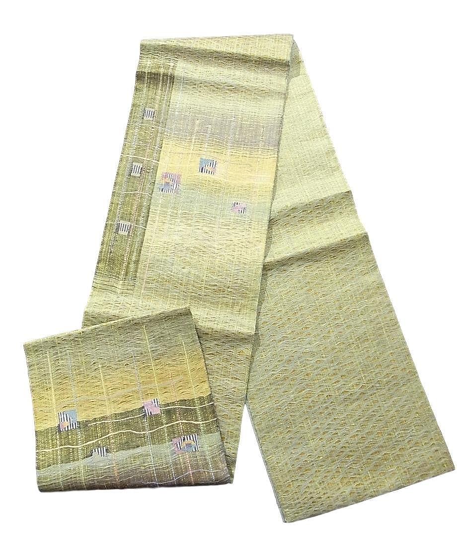 リサイクル 袋帯 紬 よろけ縞に色紙文 正絹 B07D73ZPFL