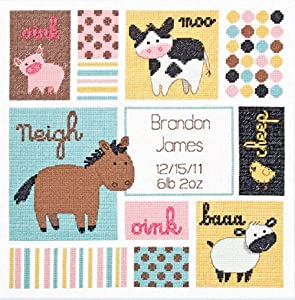 "Dimensions Barn Babies Birth Record Counted Cross Stitch Kit, Baby Shower Gift, 12"" x 12"""