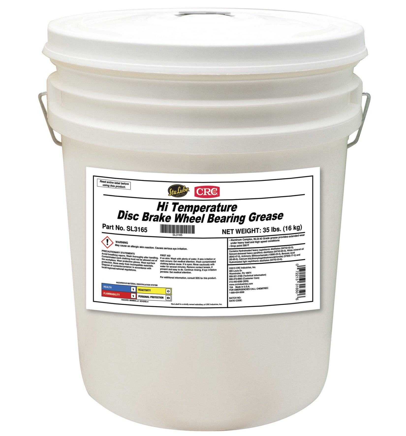 Sta-Lube Hi Temperature Disc Brake Wheel Bearing Grease, 35 Lbs by CRC