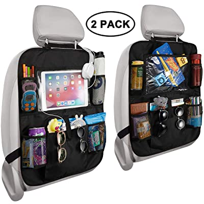 Reserwa Car Backseat Organizer 2 Pack Waterproof and Durable Car Seat Organizer Kick Mats Muti-Pocket Back Seat Storage Bag with Touch Screen Tablet Holder to Organize Toy iPad Bottle Snacks Books: Automotive