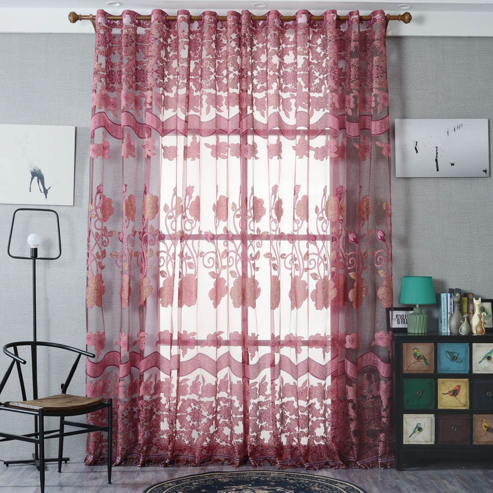 Gotian 1 Panel Window Curtain, Fashion Window Curtains Solid Color Window Treatment Panels Door Drape (B)