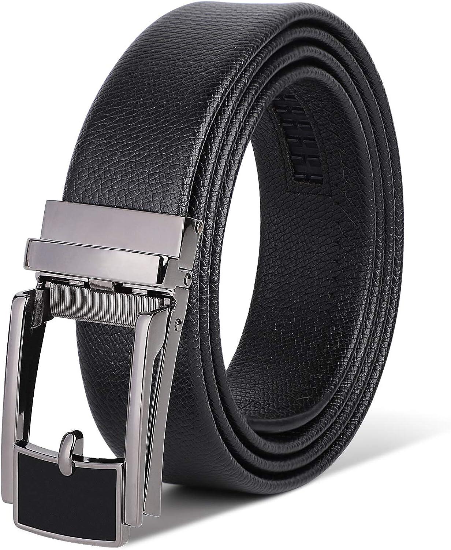 HANCHAO Cintur/ón Hombre Cuero con Hebilla Trinquete Autom/ática Cintur/ón Negocio Negro 3,5 cm Ancho Cintur/ón 115,120,125,135cm