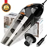 Car Vacuum Cleaner High Power, DC 12V Corded Powerful Wet/Dry Auto Vacuum Cleaner with 1 Extra Stainless Steel HEPA Filter (Orange)