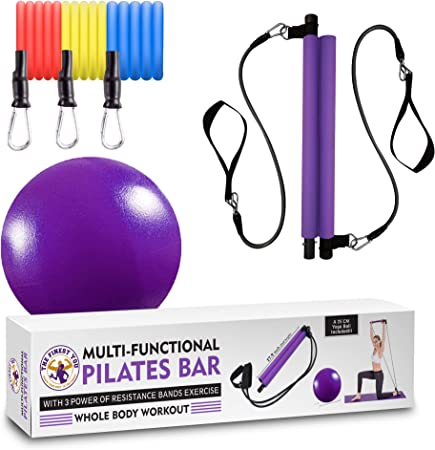 Multi-Functional Resistance Pilates Bar Kit with 3 Power Resistance Bands