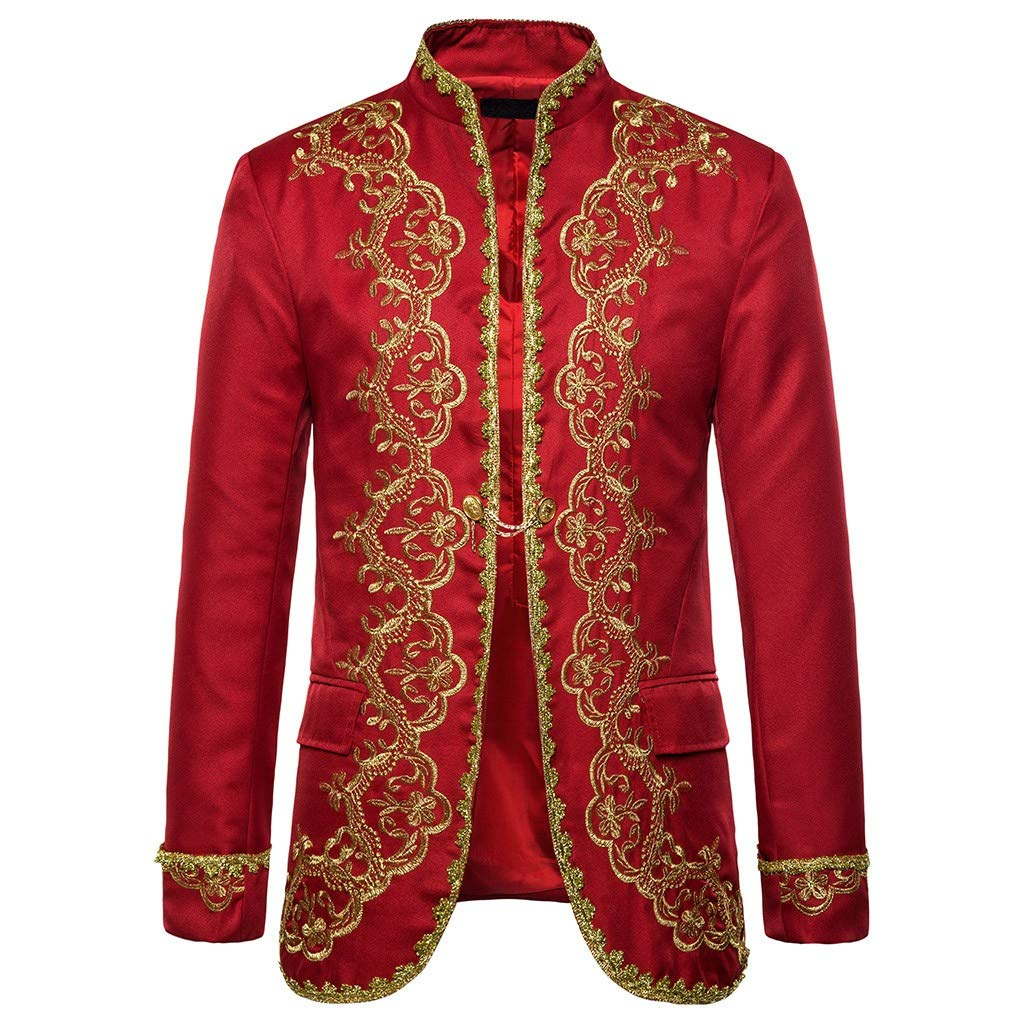 FEDULK Men's Casual Gothic Jacket Vintage Punk Open Front Outwear Long Sleeve Cardigan Costume Coat(Red, Small) by FEDULK