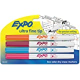 EXPO Low-Odor Dry-Erase Marker, Ultra Fine Point, Assorted, 4 per Set