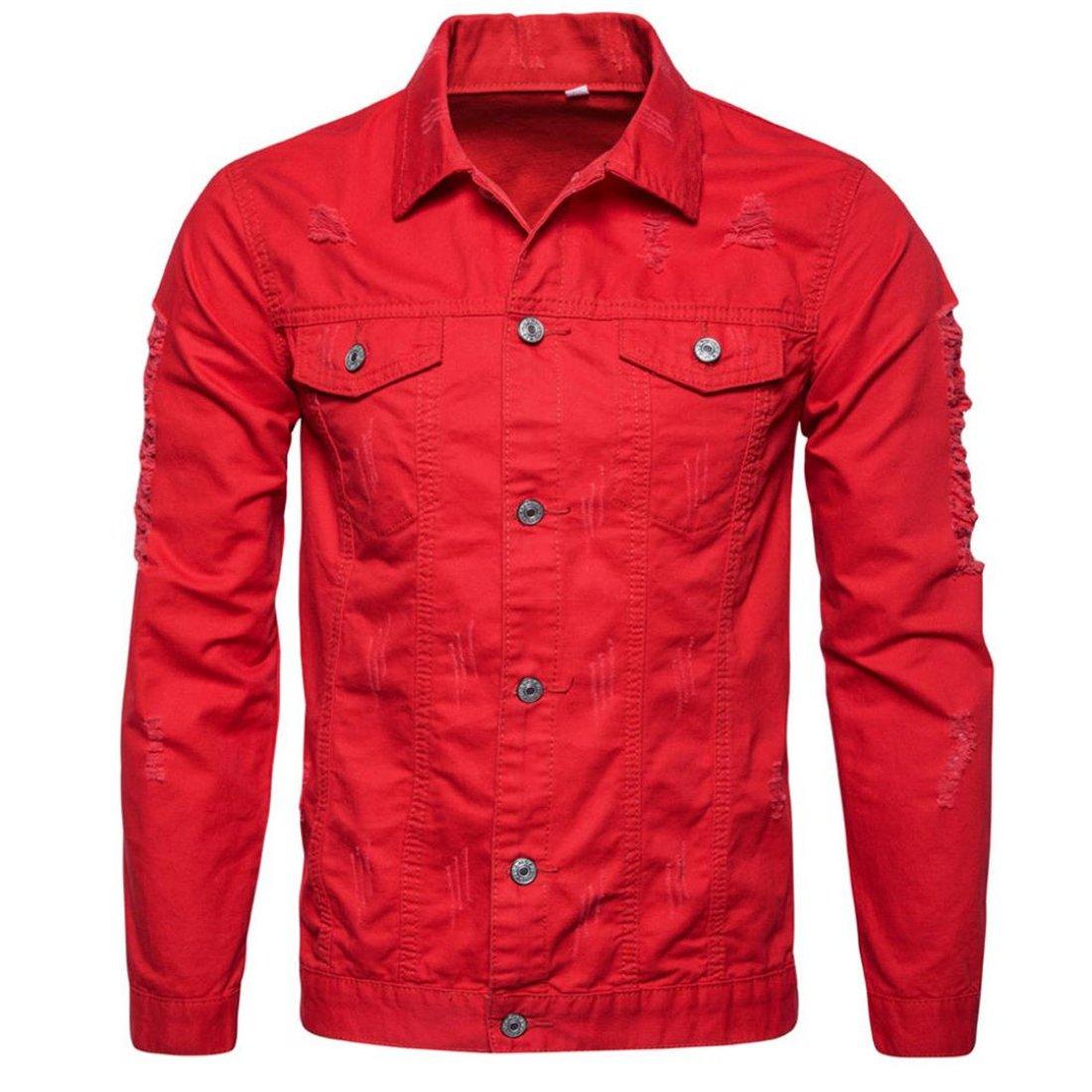 HANYI Mens Personality Fashion Slim Fit Long Sleeve Denim Hole Jacket Tops Coat Outwear HANYI-0945