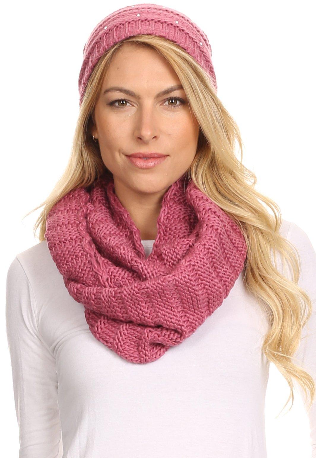 Sakkas 16141 - Sayla Rhinestone Jewel Soft Warm Woven Cable Knit Beanie Hat And Scarf Set - Rose - OS