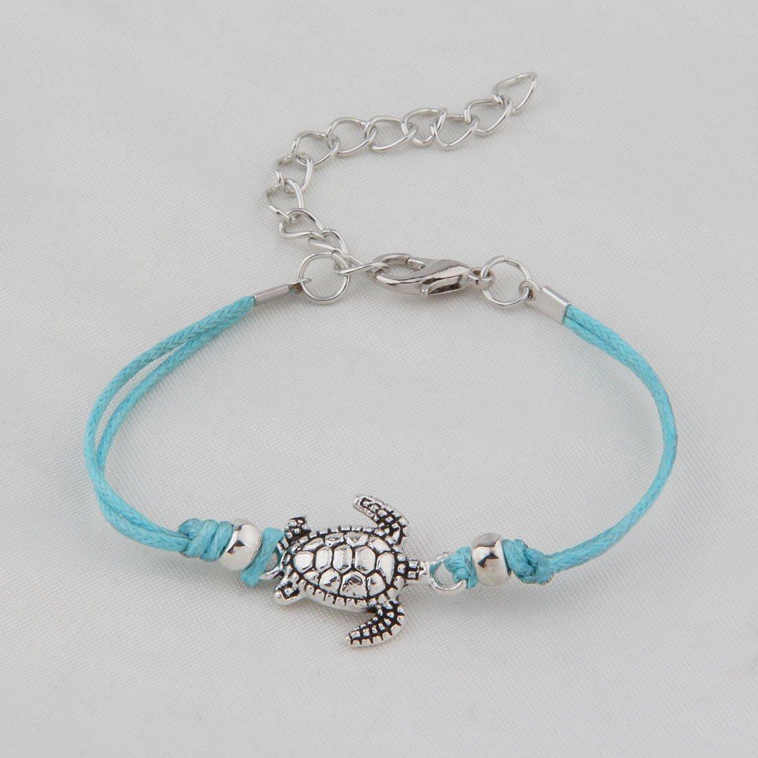 WUSUANED Vintage Wax Rope Turtle Anklet Bracelet Summer Beach Foot Jewelry