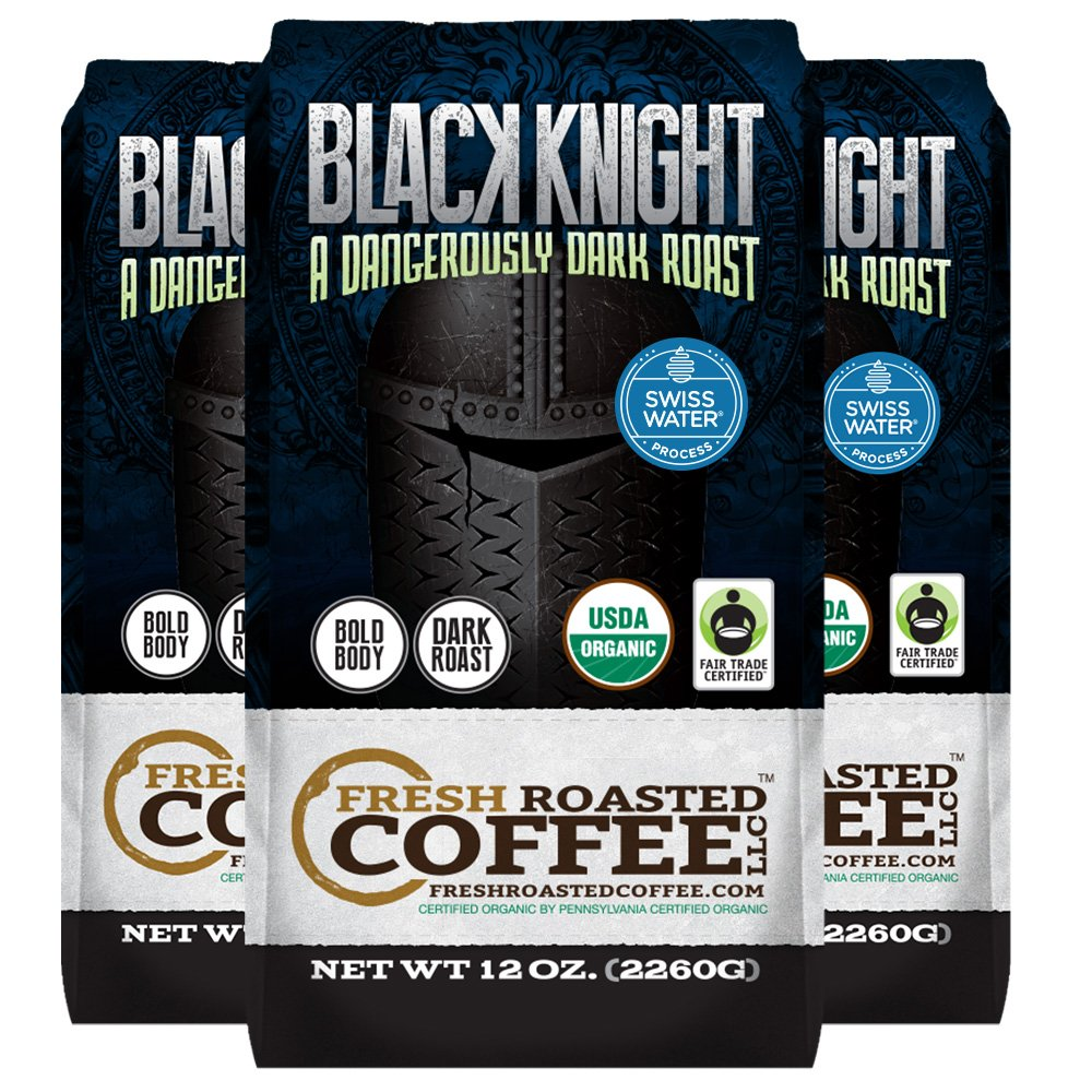 Black Knight Decaf Organic Fair Trade Coffee, 12 oz. Ground Bags,Water Processed Decaf, Fresh Roasted Coffee LLC. (Pack of 3)