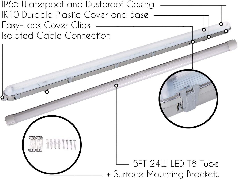 Lumi/ère /Éclairage classique lampe pour lext/érieur et lint/érieur Un T8 G13 tube + bo/îtier IP65 LEDUS Submarine r/églette LED imperm/éable /à leau 150 cm 24W 2700K /à 3000K blanc chaud